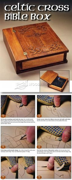 Carving Celtic Cross Bible Box - Wood Carving Patterns and Techniques - Woodwork, Woodworking, Woodworking Plans, Woodworking Projects Wood Carving Patterns, Wood Patterns, Wood Projects, Woodworking Projects, Teds Woodworking, Wood Crafts, Diy And Crafts, Whittling Wood, Leather Bound Books