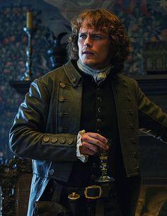 Jamie Fraser wearing his father's coat.  Lalllybroch.  Outlander Starz