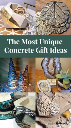 Take your concrete crafts to the next level and be unique! This is a collection of some of my favourites and link to full tutorials to make and sell unique The Most Unique Concrete Gift Ideas - Made By Barb - best concrete crafts Cement Art, Concrete Crafts, Concrete Art, Concrete Projects, Concrete Design, Concrete Statues, Concrete Leaves, Concrete Sculpture, Concrete Molds