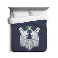 Polar Bear Wearing Sunglasses Duvet Cover Sizes Twin Queen And King Awesome Hipster Blanket