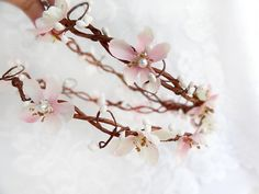 blush pink wedding hair flower wreath bridal by thehoneycomb, $95.00