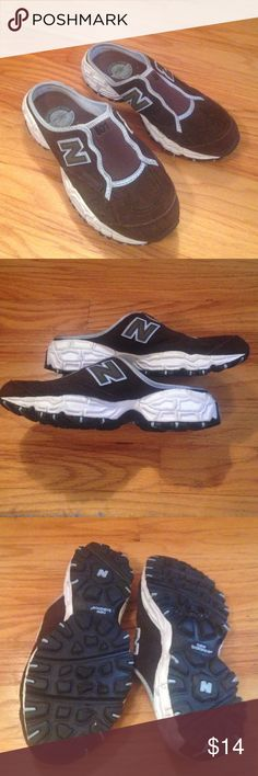 New Balance All Terrain sz 7 brown suede slip ons New Balance All Terrain sz 7 brown suede slip ons. Brown with light blue trim. Cushion insole. White and black Rubber soles with traction. New Balance Shoes Athletic Shoes