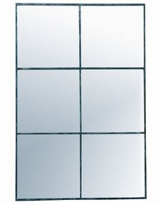 Elegant large rectangular window pane mirror with a minimal metal frame in a distressed black finish - a statement mirror for hallways, living rooms, bedrooms. Window Pane Mirror, Leather Mirror, Framed Mirror Wall, Industrial Mirrors, Rectangle Mirror, Black Window Frames, Black Metal Frame, Black Wall Mirror, Gold Wall Lights
