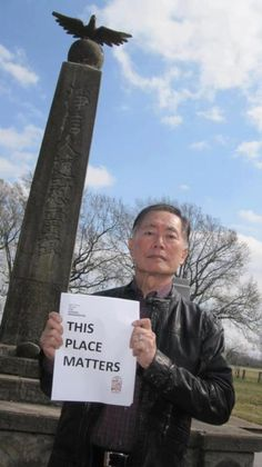 George Takei at Rohwer Camp, Arkansas, where he and fellow Japanese were interned during World War II.