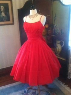 Guys, I'm selling this, for realsies. (Yes, this is Katie, and I approve this message!) Red 1950's Vintage Valentines Party Prom Cocktail Dress w/ Rhinestone Straps