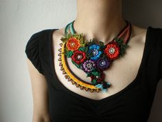 Ranunculus Fluitans ... Freeform Beaded Crochet Necklace by irregular expressions, via Flickr
