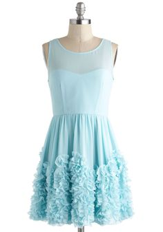Crimpin' My Style Dress - Solid, Ruffles, Party, Fairytale, A-line, Sleeveless, Short, Mint, Prom, Pastel, Sheer