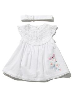 Butterfly Broderie Anglaise Dress And Headband Set Butterfly Embroidery, Mother And Baby, Cotton Dresses, Baby Shop, Fit And Flare, Baby Girls, Girl Outfits, Fashion Dresses, Nursery