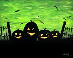 "Halloween art, ""Punkins"" digital art print..even though it's digital, you could totally paint this."