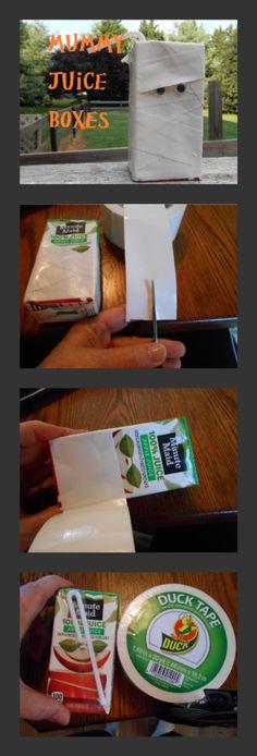 Kids Halloween Party Ideas Mummy Juice Box