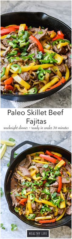 Paleo Skillet Beef Fajitas cooked in one pan in under 30 minutes gluten free recipe