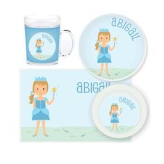 Princess Personalised Kids Mealtime Set $32.95 - $39.95 #sweetcreations #baby #toddlers #kids #personalised Personalized Gifts For Kids, Personalized Stickers, Waterproof Labels, Custom Labels, Cleaning Wipes, Princess, Gift Ideas, Christmas 2015, Toddlers