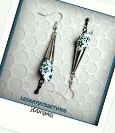 alittlemarket/Boucles d'oreilles origami~Boucles d'oreilles cône papier japonais~Boucles d'oreilles petites fleurs : Boucles d'oreille par boucles-d-oreilles-originales-insolites