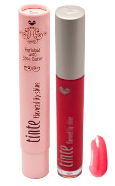 TINte Cosmetics Flavored Lip Shine in Pepper on the Rocks a Dr. Pepper Flavored lip gloss, a sheer brick red shade.Enriched with shea butter, best lip gloss for chapped lips. #flavoredlipgloss #sheabutter