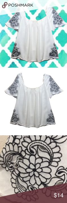 Pretty rayon cutout top Preloved in good condition, Size S,  27 inches long x 36 inches across bust Lucca Tops