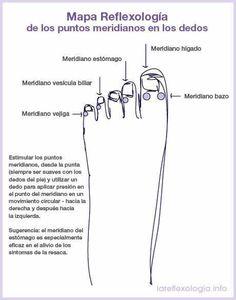 Mapa reflexología puntos meridianos dedos pie
