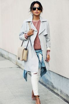 Neutral coat + blush sweater and ripped white skinny jeans via Sincerely Jules