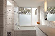 i spy house mosaic tile shower floor alter studio, bouldin house White Bathroom Tiles, White Subway Tiles, Bathroom Wall, Wall Tiles, Window In Shower, Shower Floor, Bath Shower Combination, Mosaic Shower Tile, Sandblasted Glass