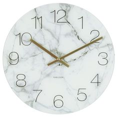 Karlsson Glass Marble Clock - White - Add a sophisticated element to your walls with the