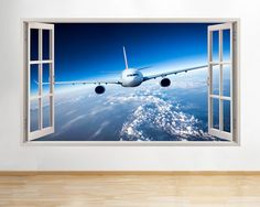 Aeroplane jet sky scene boys #bedroom #window wall decal 3d art #stickers,  View more on the LINK: http://www.zeppy.io/product/gb/2/291749496875/