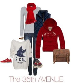 Gray, Red, and Navy Outfit plus where to find each item. Perfect for Fall!