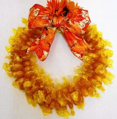 Butterscotch Candy Wreath Edible Decoration Birthday Unique Gift Party Table Deco Yellow
