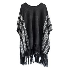 Ponchos usually have a boho feel but I like how versatile this one is in a black and white pattern.