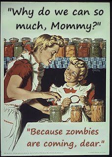 old days zombies long ago, vintage cartoon canning storing food for zombie apocalypse why do you can so moch mommy? because zombies are coming , dear, maybe I should learn canning. Do It Yourself Food, Bokashi, Home Canning, Canning 101, Canning Jars, Pressure Canning, Canning Pickles, Canning Labels, Jar Labels