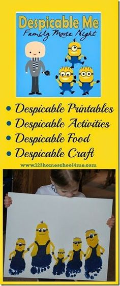 Despicable Me Family Movie Night - so many fun, clever ideas for family fun! Minion foot art, minion games and kids activities, despicable me craft, food ideas, and so much more!