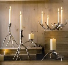The Roost Polished Antler Candlesticks & Pillar Holders, somewhere in the forest, there is a reindeer envious of our polished antler candle holders! These candlesticks are cast in recycled aluminum from real antlers Antler Candle Holder, Candlestick Holders, Candlesticks, Chandeliers, Rustic Interiors, Antlers, Candle Sconces, Rustic Decor, Rustic Style