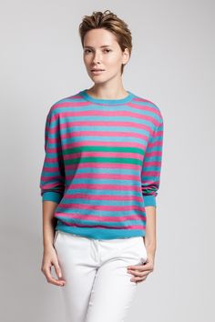 Stripes galore in silky sweater from Asneh