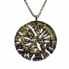 This stunning Pentti Sarpaneva necklace features a large bronze pendant that is reminiscent of a cross cut of a trunk of a tree. The pendant is on a long bronze chain. Bronze Pendant, Finland, Pendant Necklace, Chain, Jewelry, Jewlery, Jewerly, Necklaces, Schmuck