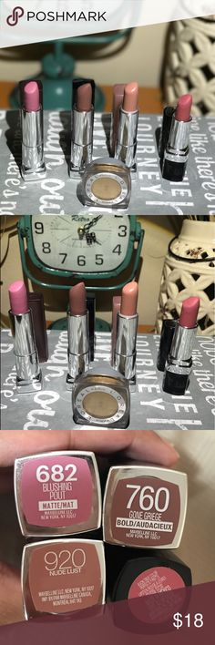 Lipstick Bundle! Bonus: L'oreal Eyeshadow!  Used maybe once or twice (where not right for my skin understone). In perfect condition. Lipsticks: Maybelline (Matte Blushing Pout, Bold- Gone Griege, Shier- Nude Lust); Avon (Matte- pure Pink). Bonus Eyeshadow: L'Oréal 24 hour Infallible (Eternal sunshine). Maybelline Makeup Lipstick
