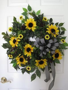 SUNFLOWER WREATH Country Wreath Spring Wreath Summer by FunFlorals