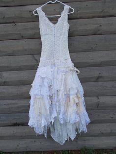 I am strangely fond of these...  Rag Doll Dress, Corset type front, Lace Wedding Dress Chic, Rag Doll, romantic, french country, wedding dress alternative, wedding Sm. 32 34