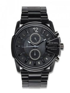 Diesel dz4180 blackout steel watch chronograph analog men watch.   The black Ion-plated steel bracelet fastens with a fold-over clasp and the watch is powered by a quality Japanese quartz movement. A sleek mens Diesel Goose design in black Ion-plated steel. Features for this attractive model include date function, chronograph, black colour baton hour markers and black colour dial.