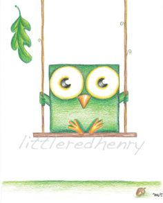 Green Boxy Owl on Swing   Whimsical Art Print by carrotpoop, $10.00