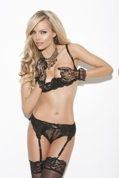 d30af339c8cc0 Cupless lace bra, garter belt & g-string set - $23.99 Black Lingerie,