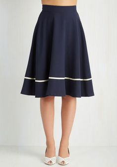 Streak of Success Skirt in Navy. When you don this navy-blue A-line skirt, you channel a winning, smart style! #blue #modcloth
