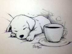 a cute cartooned drawling of a dog