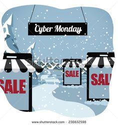 Cyber Monday smartphone shopping village EPS 10 vector illustration - stock vector