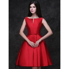 Choies Red Plunge Neck Bowknot Waist Lacing Back Prom Skater Dress (€43) ❤ liked on Polyvore featuring dresses, red, skater dress, red lace up dress, plunging neckline dress, lace up front dress and red dress
