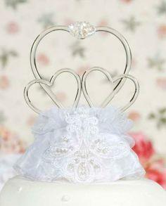 Vintage Style Triple Heart Wedding Cake Topper http://discountweddingcaketoppers.com/triple-heart-vintage-wedding-cake-topper.html $44.98