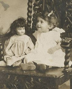 Charming Little Girl with Doll Original Antique Photo | eBay