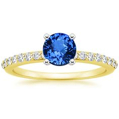 Love this  ring but in Platinum or white gold 18K+Yellow+Gold+Sapphire+Petite+Shared+Prong+Diamond+Ring+from+Brilliant+Earth