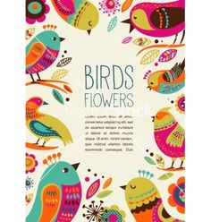 Colorful background with cute decorative birds vector on VectorStock®