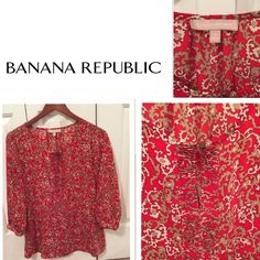 Banana Republic blouse Tunic Beautiful tan, cream, red tunic with one button front closure. It is loose fitting size S with 3/4 sleeves. Banana Republic Tops Blouses