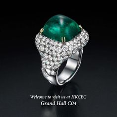 Our amazing 14 carats Cushion Shape Colombian Sugarloaf Cabochon Emerald ring will be shown at the HKCEC in Whanchai.