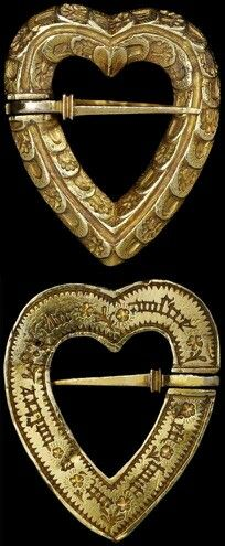 Medieval Jewelry - Gold Heart And Sword Brooch of the 1400's
