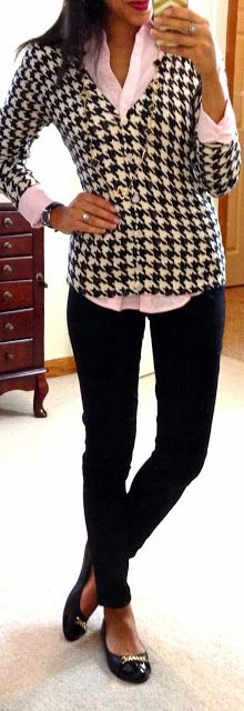 Untucked button-up, houndstooth cardi, skinny pants